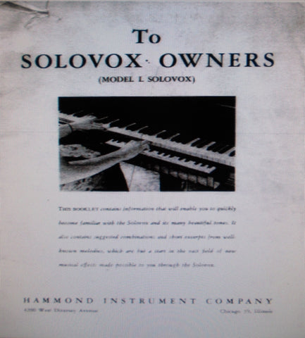 hammond model j service manual