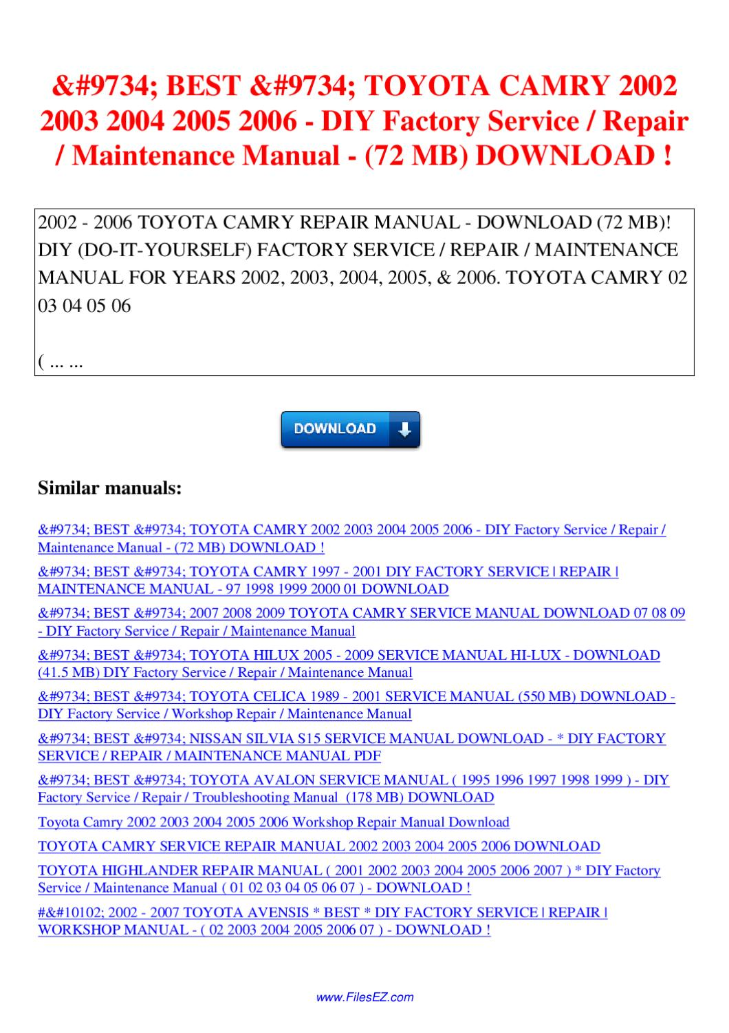 2005 toyota camry manual download