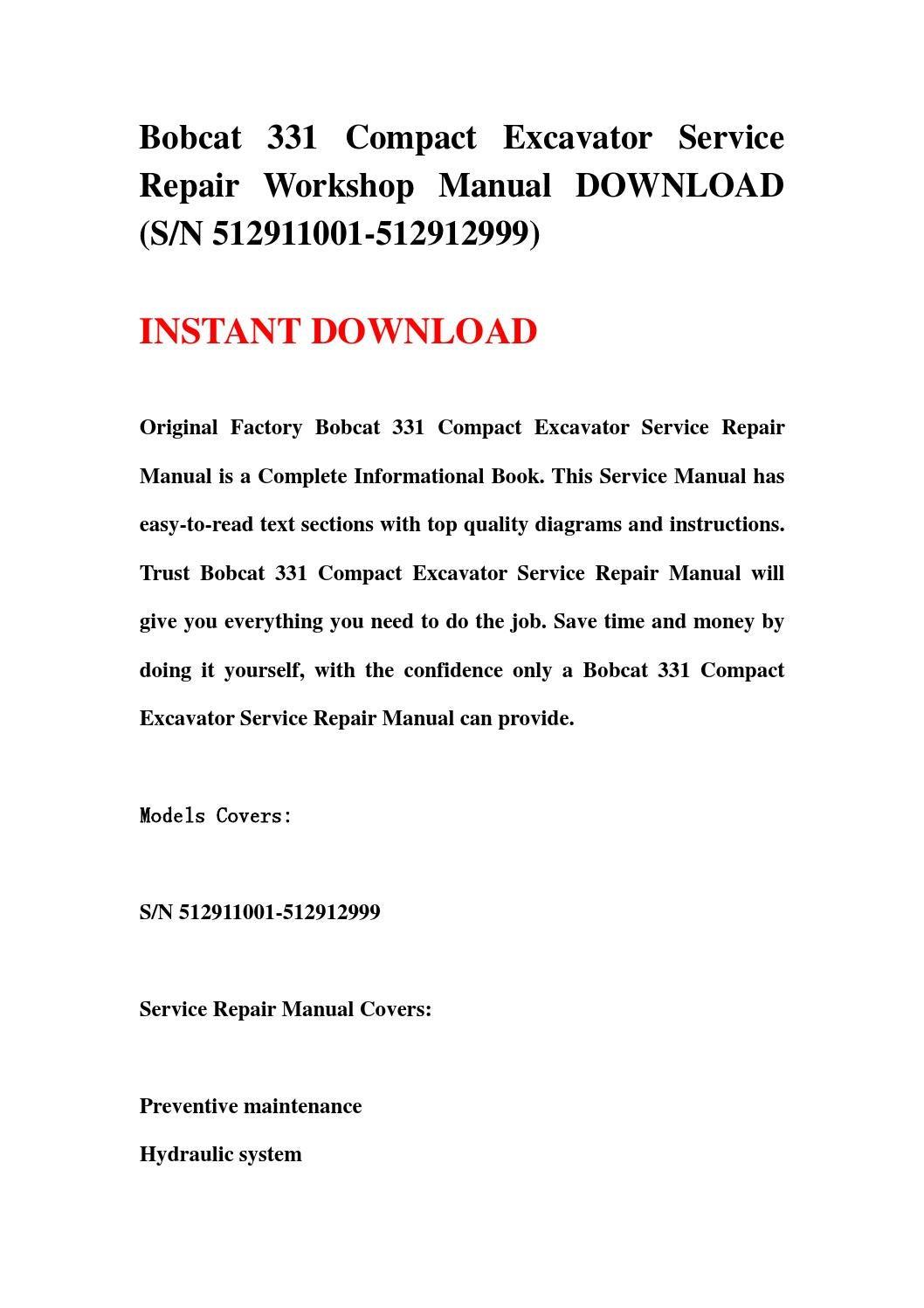 bobcat 331 service manual download