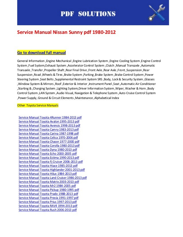 nissan sunny service manual download
