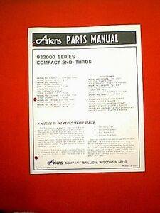 ariens service repair manual 924000 series sno-thro models
