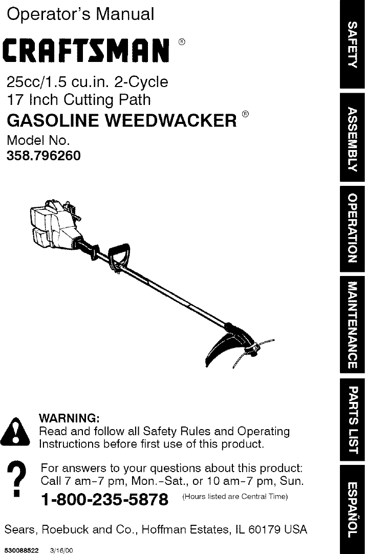 craftsman 25cc model 316.711370 weedwacker manual pdf