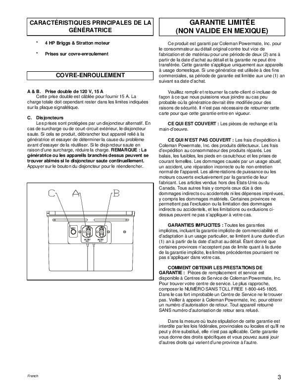 coleman powermate model pw0872400 owners manual
