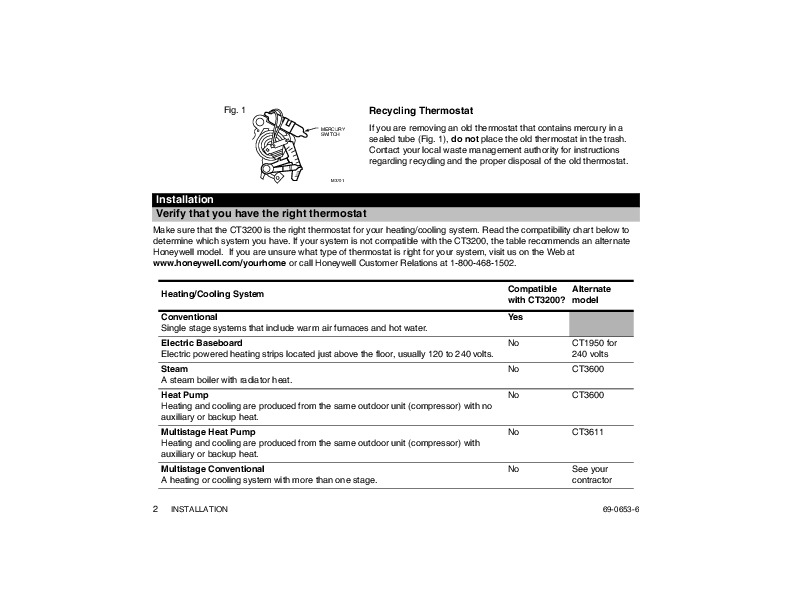 honeywell thermostat model ct3200 manual